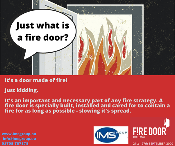 What is a fire door? fire door safety week. Fire doors are specially made to slow the spread of fire in a building. Each component of a door is fire rated and designed to withstand intense heat for a long time. Common fire door types are DF30, 60 and 120. The numbers relate to how long the fire doors withstood and contained a fire before succumbing. It is mandatory to have fire doors in most buildings in the UK and falls under several fire safety regulations such as the RRO 2005 (Fire regulatory reform order) and BS-9999. Fire doors are an integral part of any fire protection strategy.